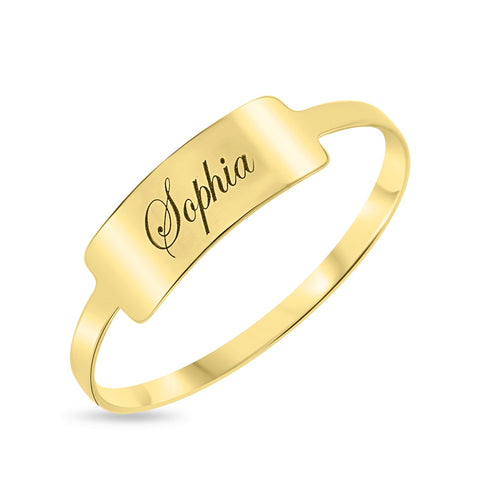 Script Name Bar Stack Ring - Yellow 10k Gold
