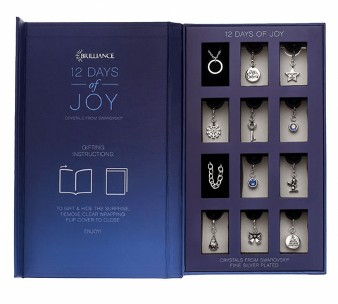 Christmas Advent Calendar Charm Jewelry Gift Set '12 days of Joy' with 10 Charms, Necklace and Bracelet. Crystals from Swarovski.