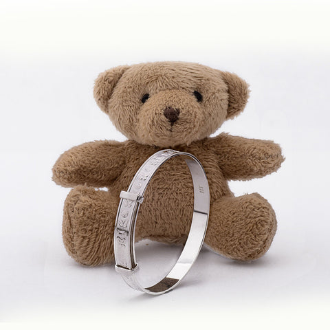 Teddy Bear Baby Expandable Bangle for Christening, Baptism, Baby Shower Present - STERLING SILVER
