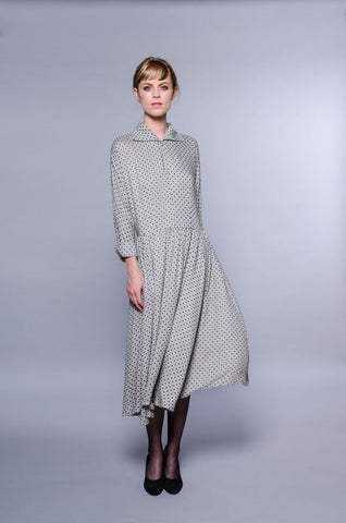 Barcelona Dress - grey with blue print