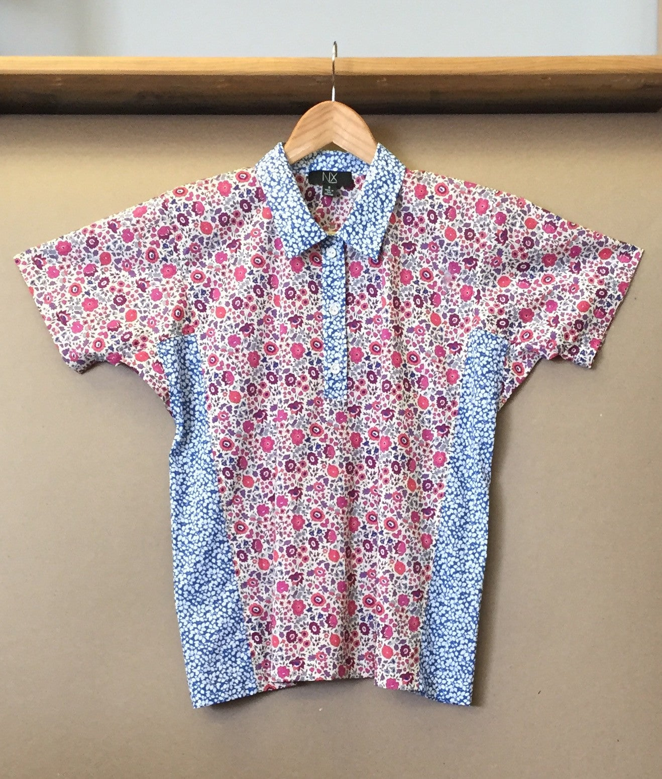 Beach Shirt - pink with blue contrast