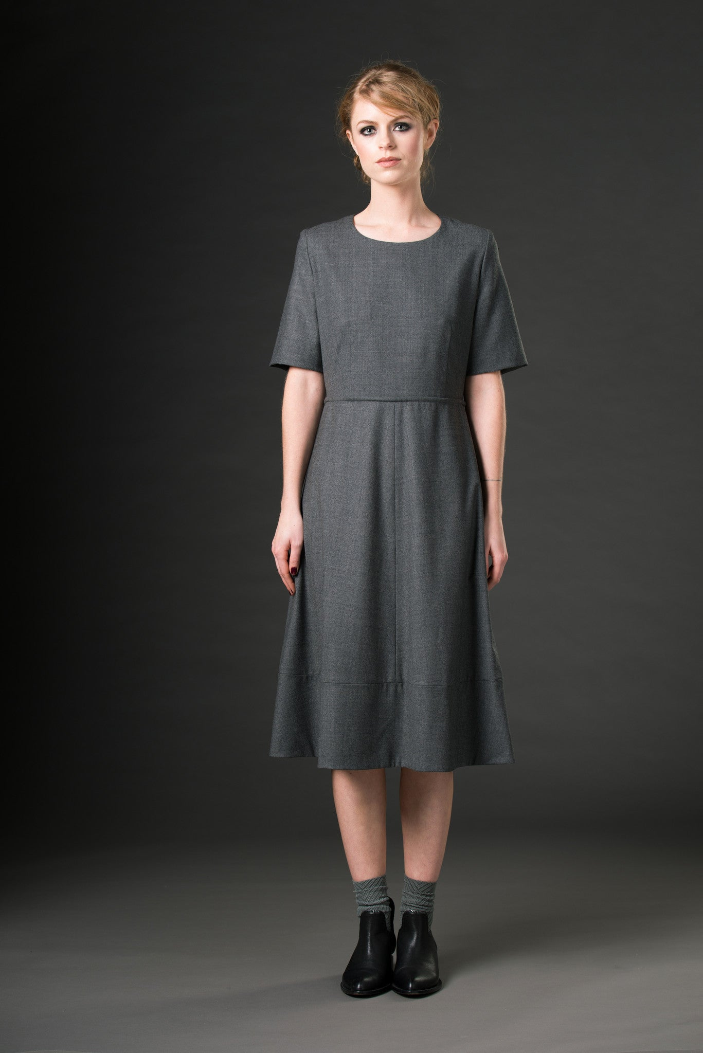 Charlotte Dress - grey flannel