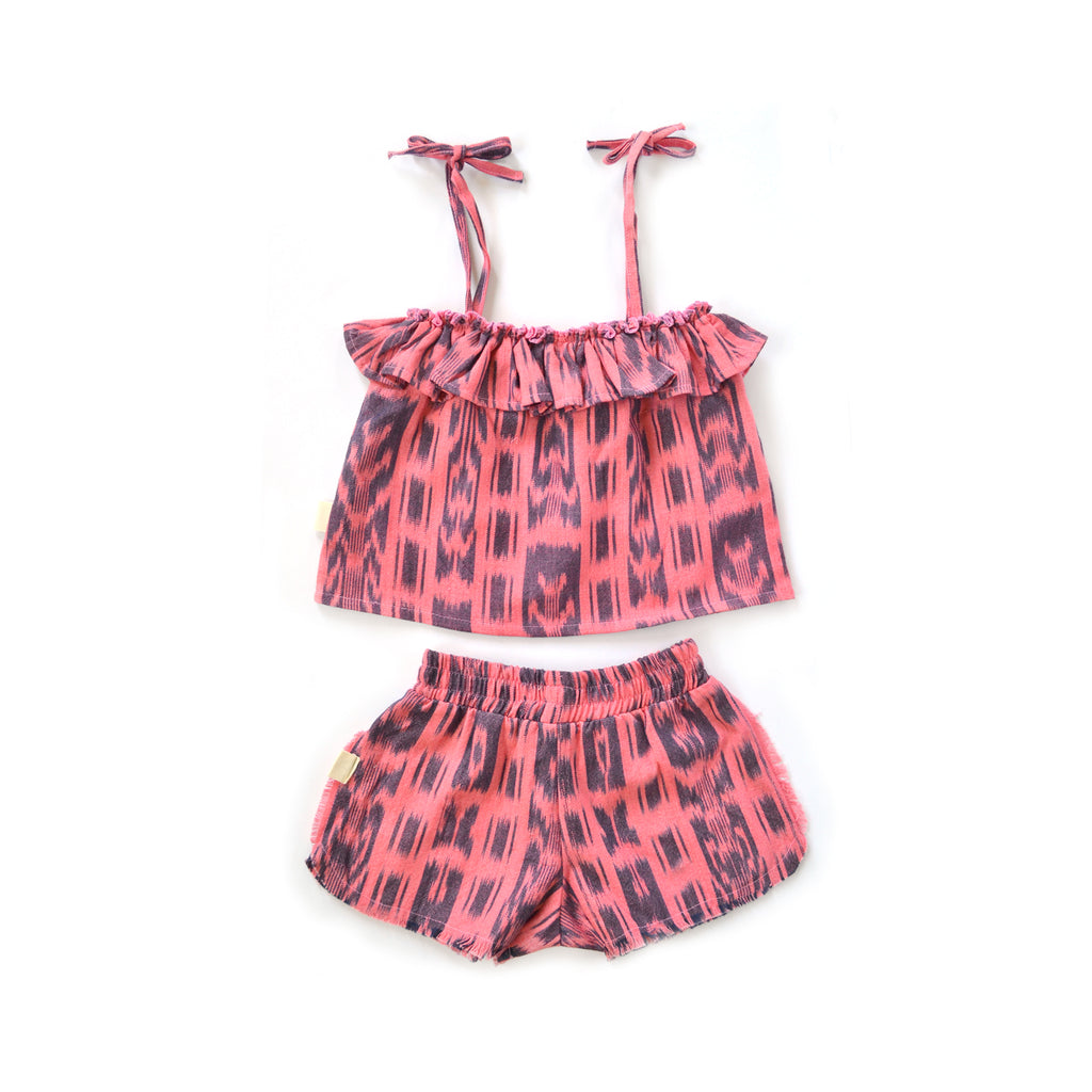 Ava Girl Short Set in Flamingo
