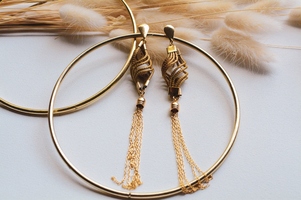 Golden Grass Tassel Earrings With Semi-Precious Stone