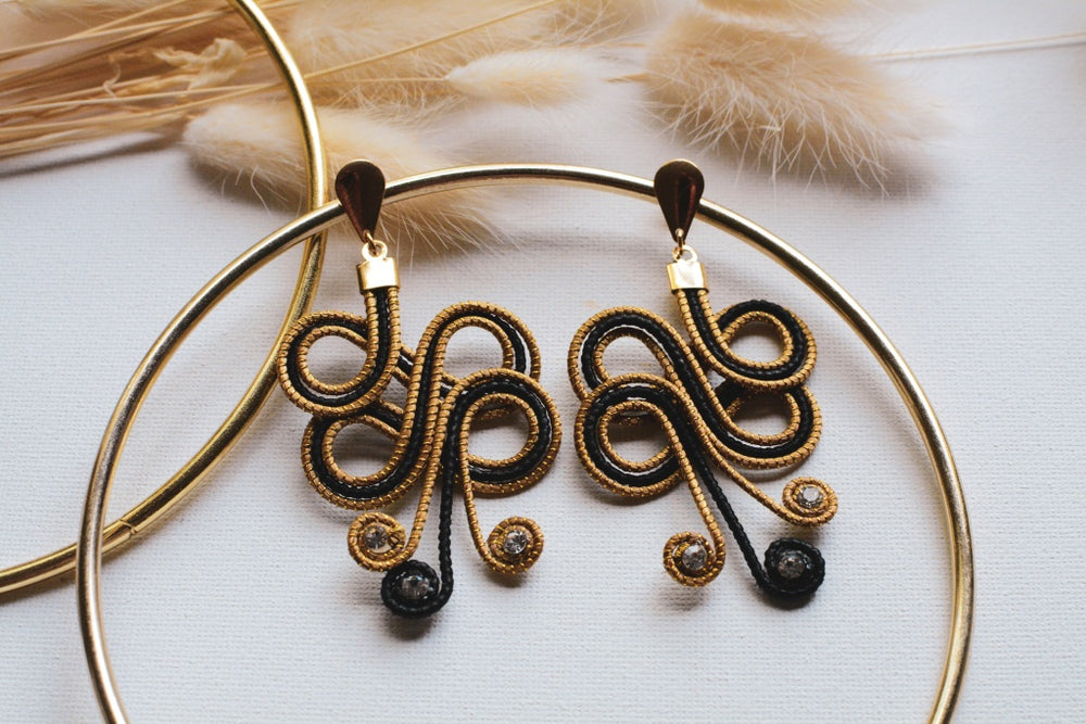 Black & Golden Grass Scarab Earrings