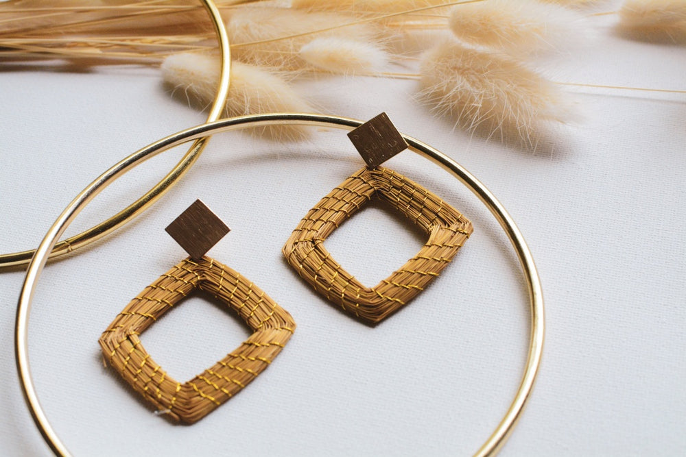 Golden Grass Geometric Hoops