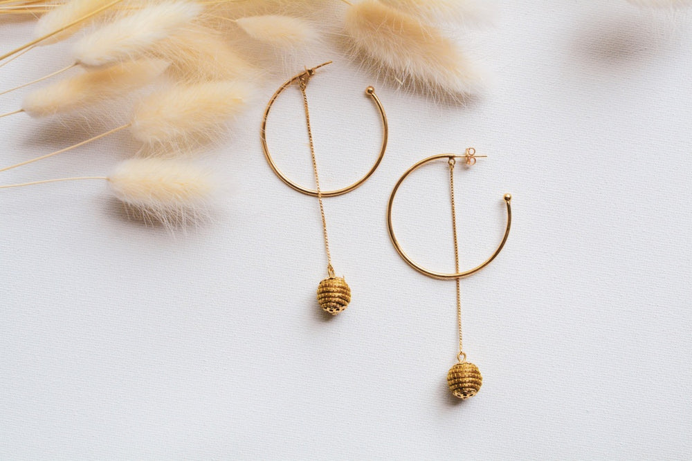 Gold Pom Hoops