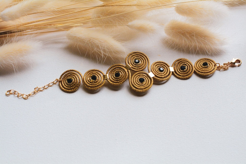 Golden Grass Black Crystal Bib Bracelet
