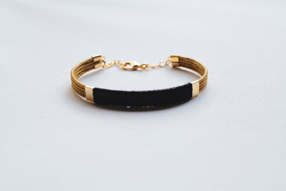 Petite Black Golden Grass Cuff