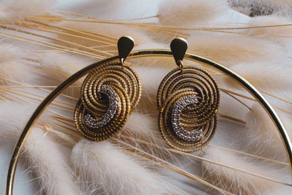 Golden Grass Crystal Ying & Yang Earrings