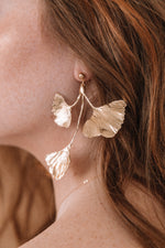 Asymmetrical Gold Ginkgo Leaf Cluster Statement Earrings