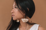 Large Ginkgo Leaf Gold Threader Statement Earrings