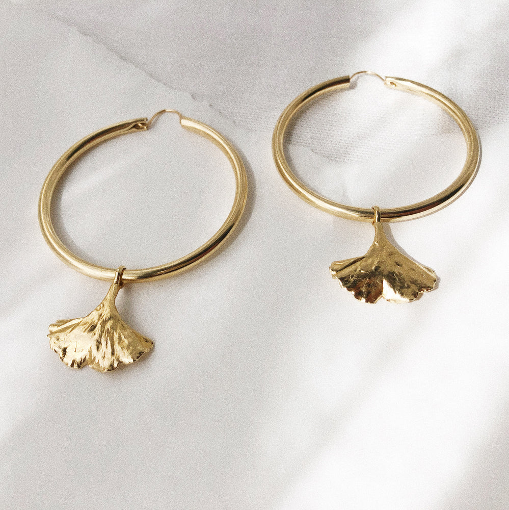 Large Gold Hoop Ginkgo Leaf Charm Earrings