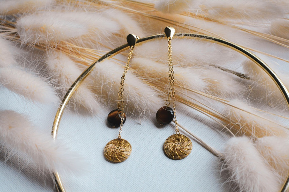 Golden Grass Drop Earrings With Semi-Precious Stone