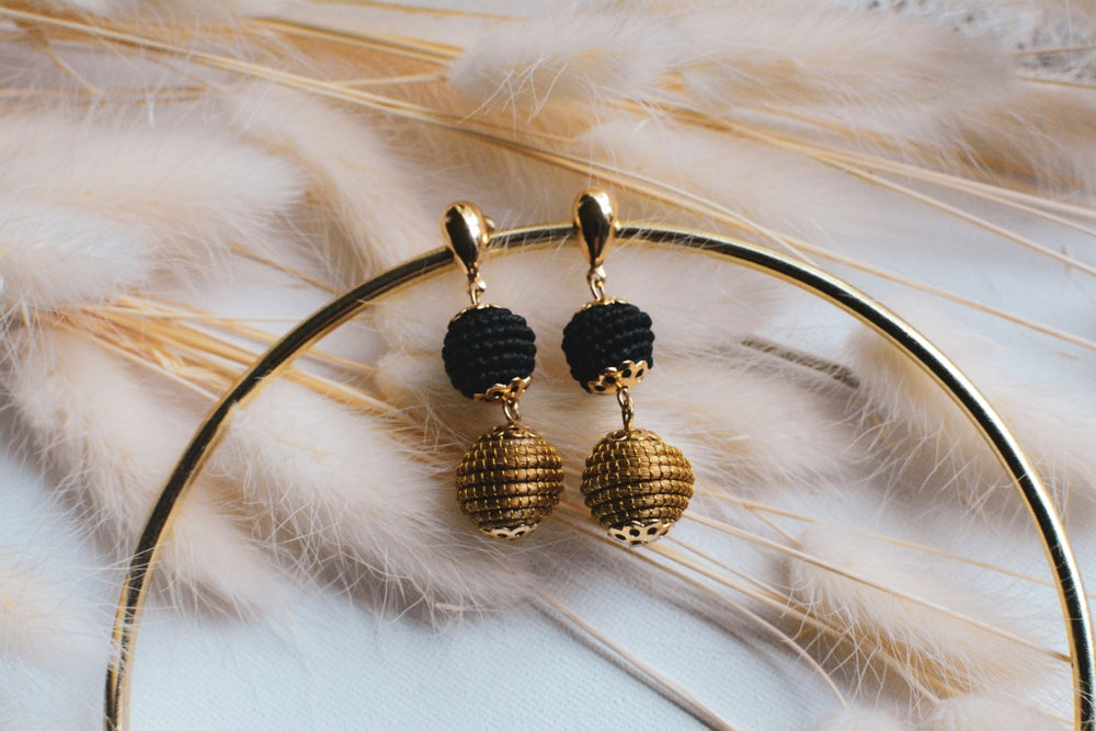 Black & Gold Baby Pom Earrings