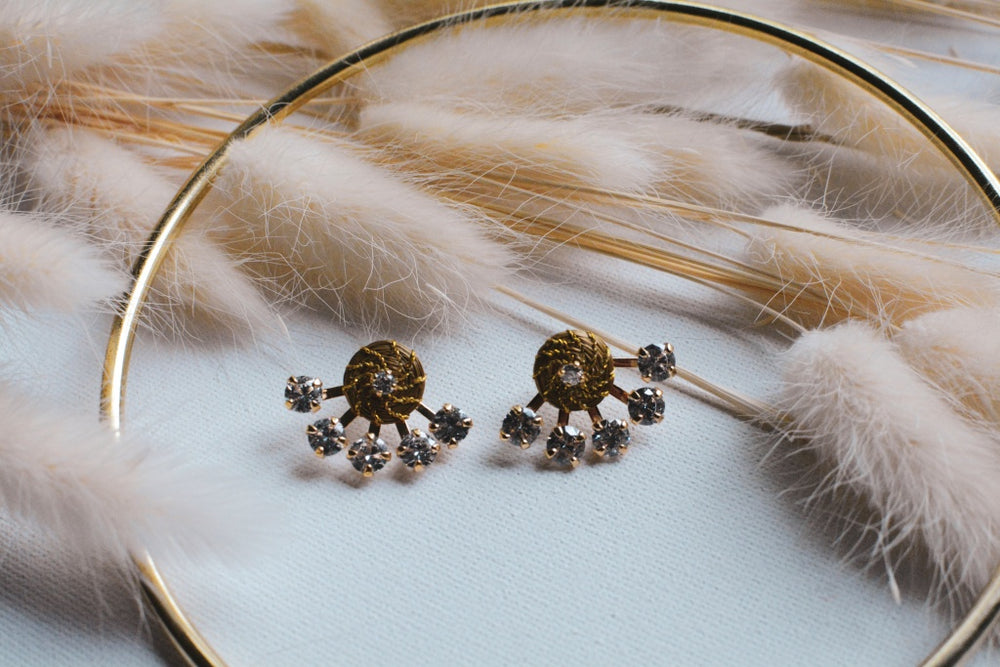 Golden Grass Crystal Earring Cuff (2-Piece Set)