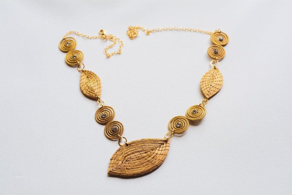 Golden Grass Leaves Necklace