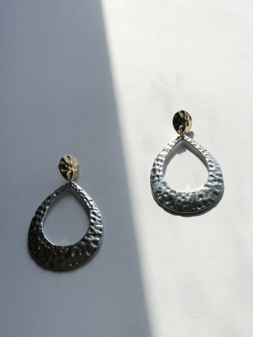 Two-Tone Oval Pebbled Earrings