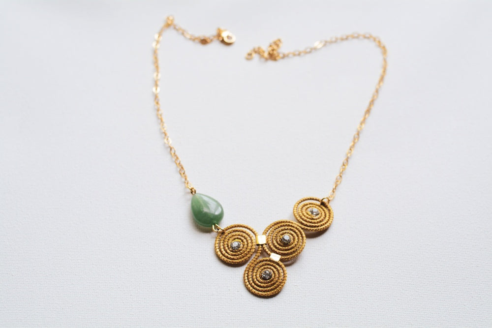 Golden Grass Necklace With Jade