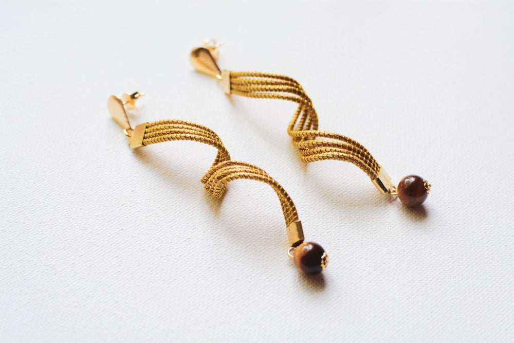 Golden Grass Twist Earrings With Semi-Precious Stone