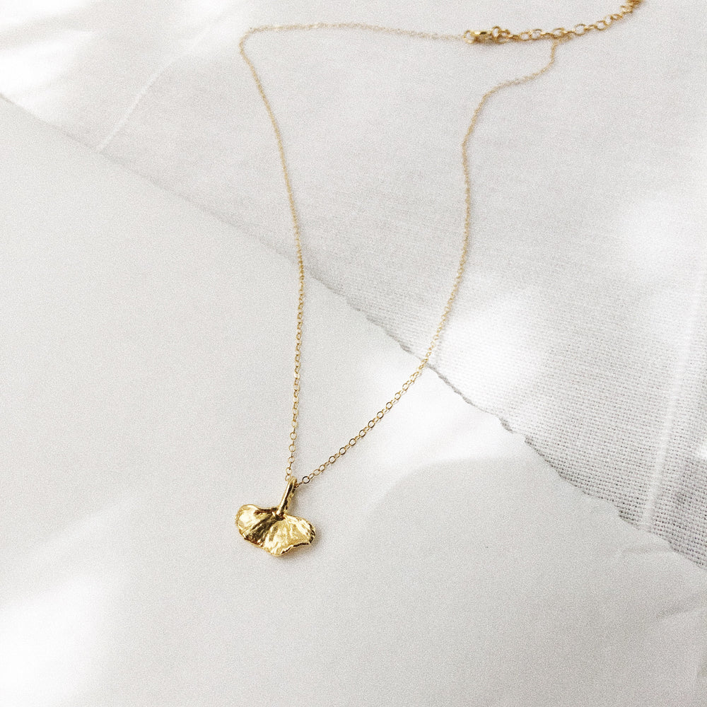 Gold Baby Ginkgo Leaf Charm Necklace