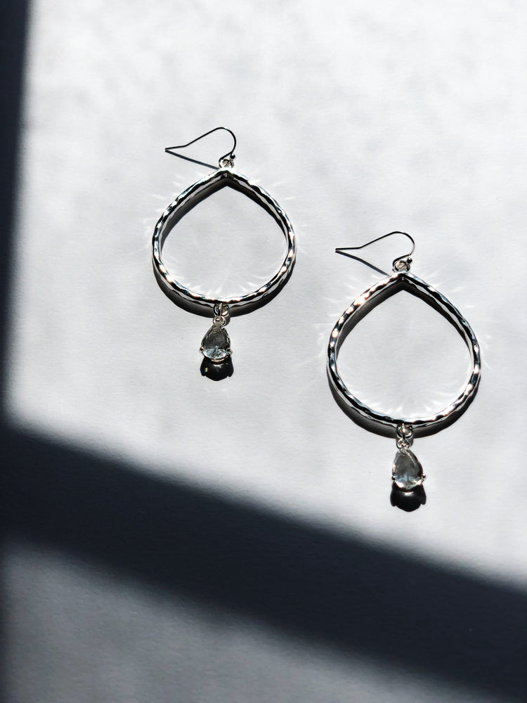 Silver Fallen Crystal Earrings