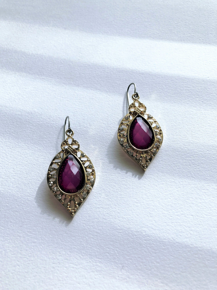 Raspberry Teardrop Earrings