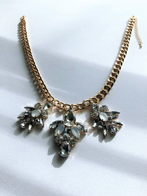 Rose Gold Crystal Orchids Necklace