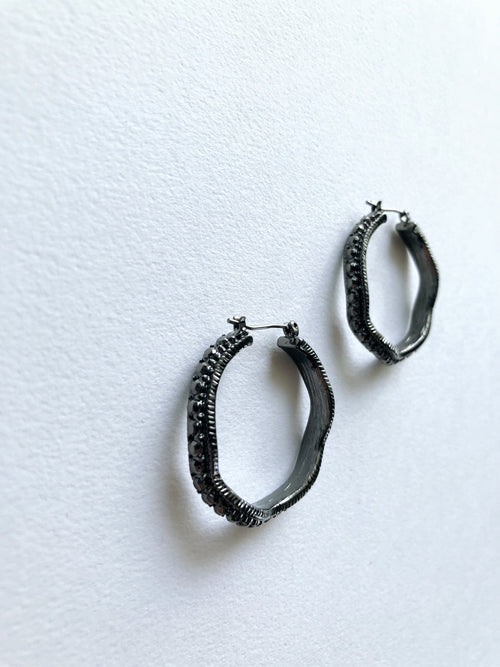 Black Widow Crystal Hoops