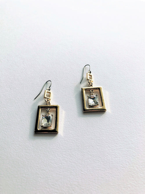 Floating Crystal Frame Earrings