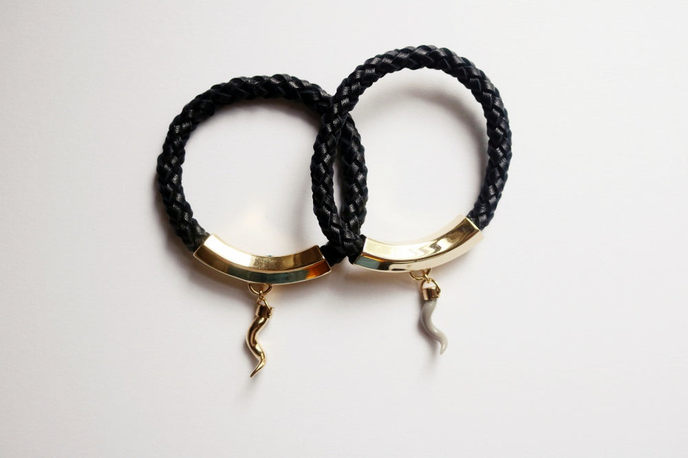 Braided Leather Tilde Bracelet