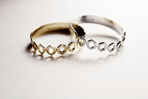 Silver Crystal Pear Bangle