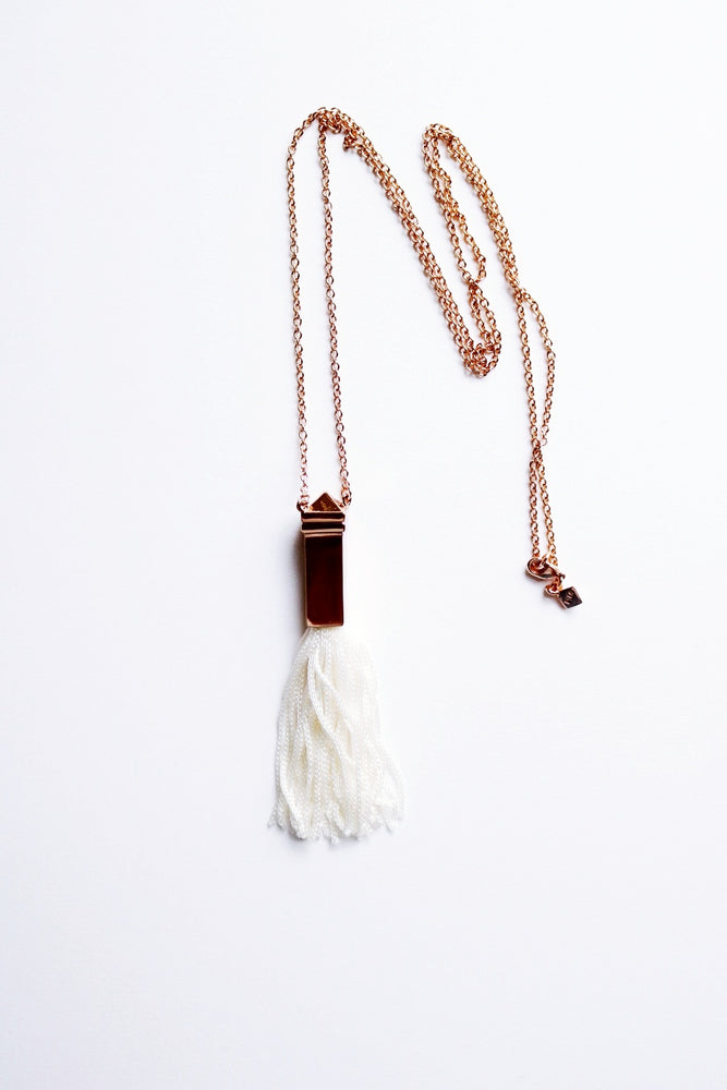 Rose Gold Pyramid Tassle Necklace
