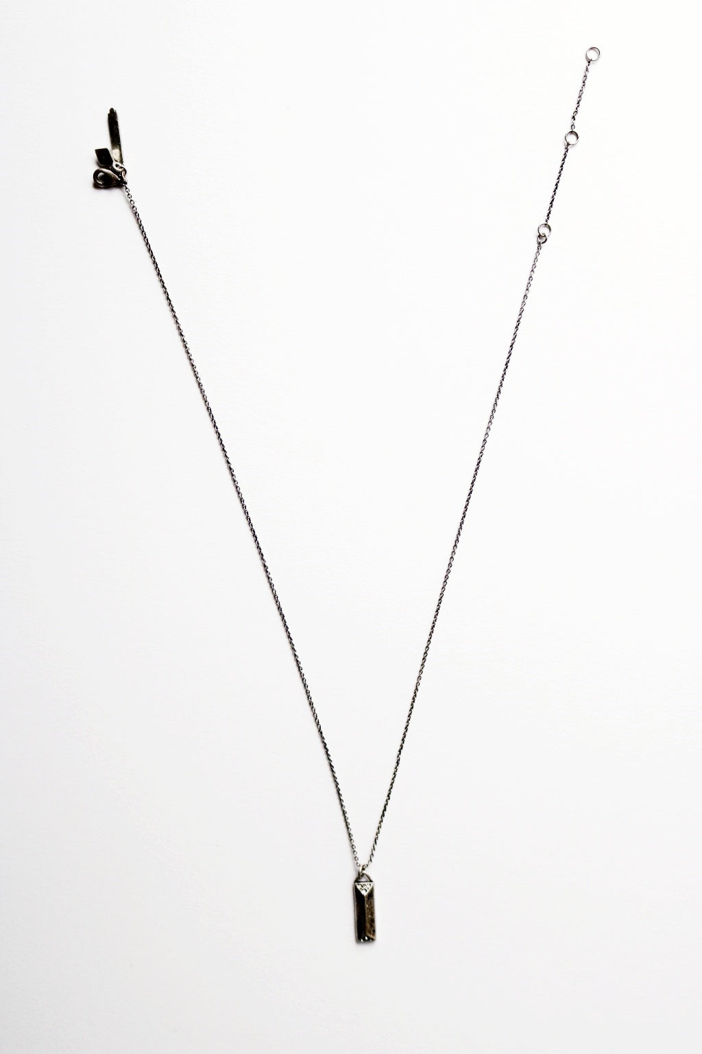 Oxidized Silver Baguette Necklace