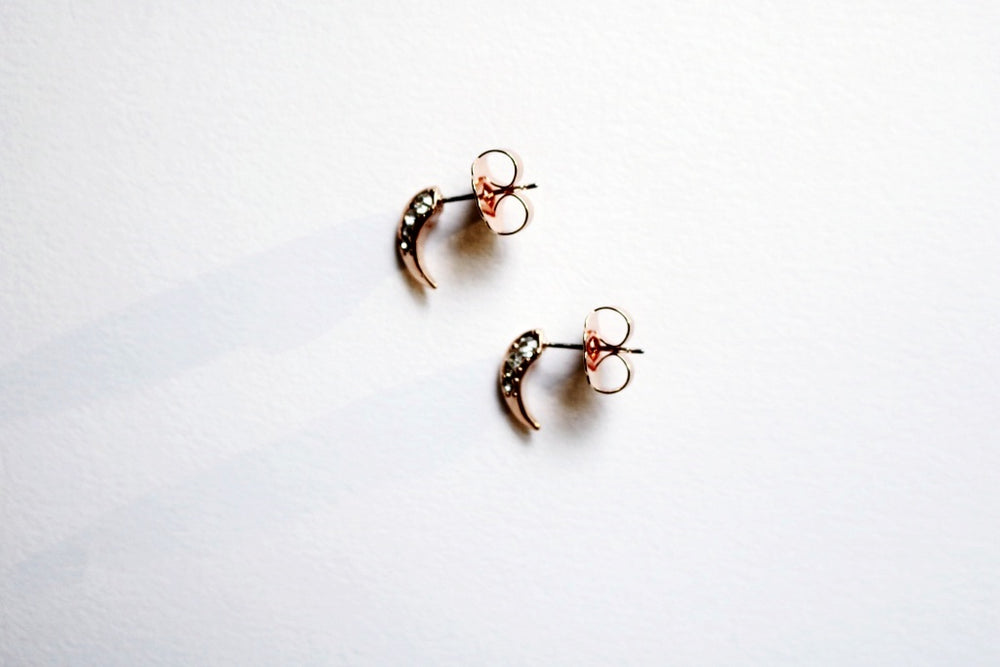 Baby Rose Gold Crystal Moon Studs