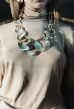 Matte Gold Rings Statement Necklace