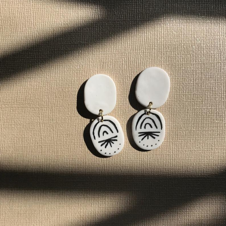 White Polymer Clay Earrings with Drawing