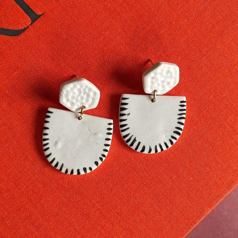 White Polymer Clay Shield Earrings