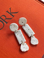 White Speckle Polymer Clay Stack Dangle Earrings
