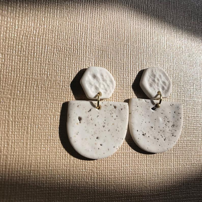 White Speckle Polymer Clay Shield Earrings
