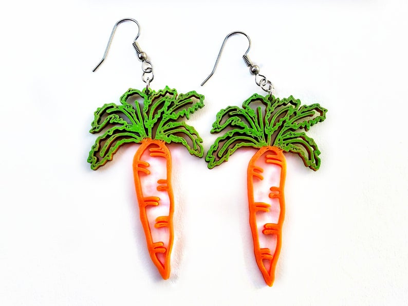 3D Printed Carrot Earrings