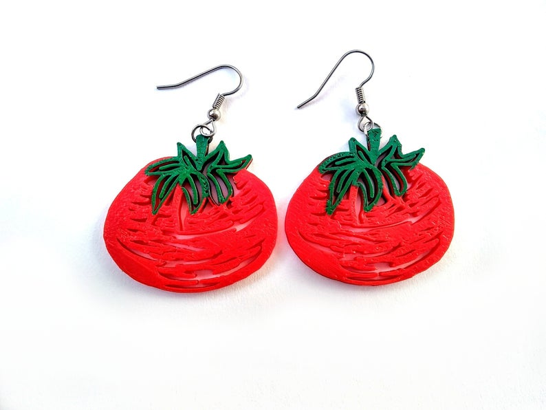 3D Printed Tomato Earrings