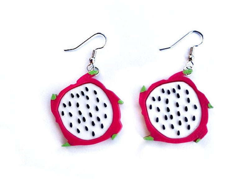 3D Printed Dragonfruit Earrings