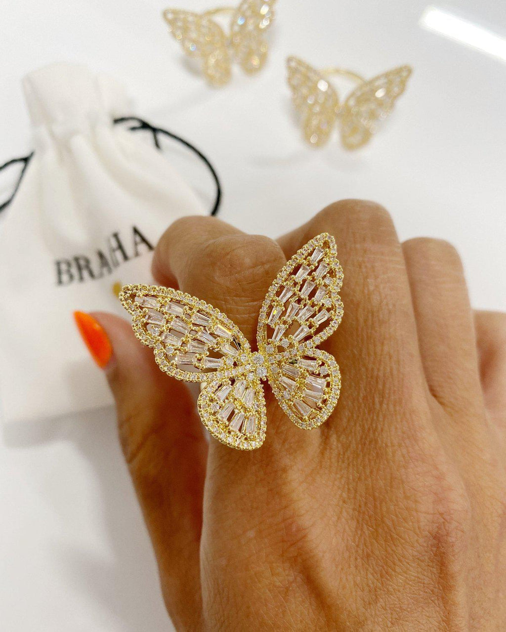 Iced Out Butterfly Ring Rings BRACHA