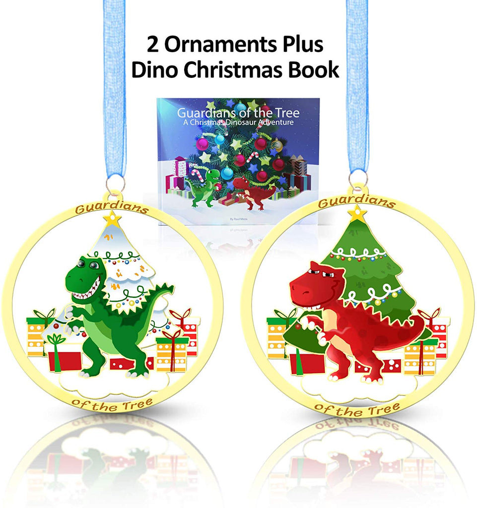 Christmas Book With Set of Two Dinosaur Ornaments