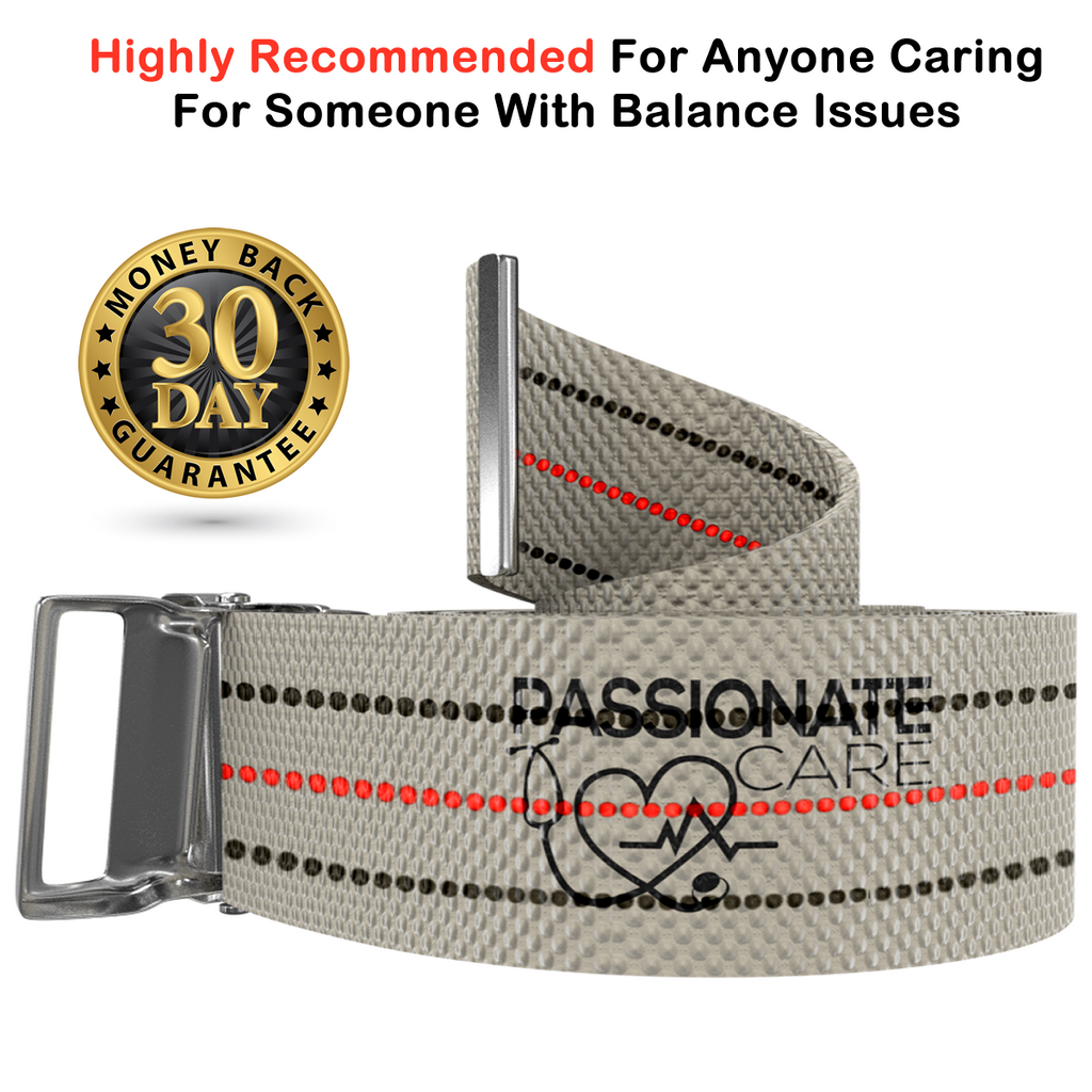 Transfer Belt - 2 For 1 Physical Therapy Gait Belt with Metal Buckle. 60 inch Beige plus a bonus 70 inch Black Strap.