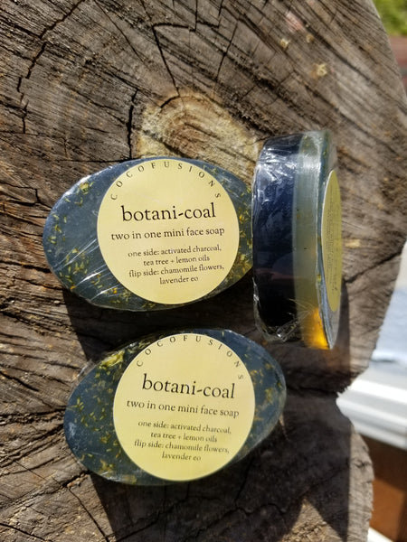 Botanicoal, double sided mini face soap