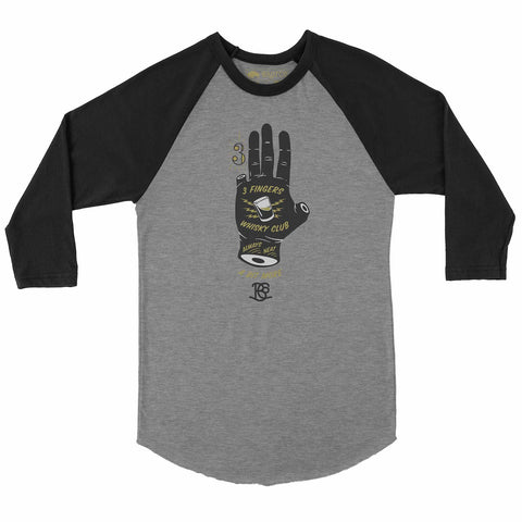 3 Finger Whisky Club 3/4 Sleeve Raglan Shirt