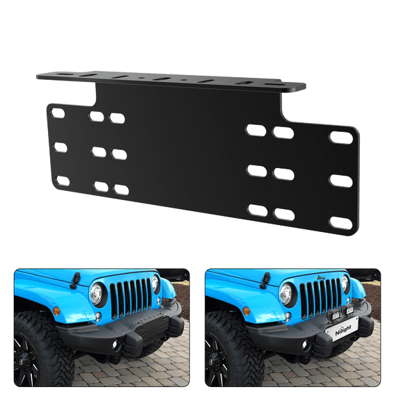Nilight Led Light Bar Universal License Plate Mount Bracket Heavy Duty Steel Front Plate Mounting Bracket Holder for Off-Road Lights LED Work Lamps Lighting Bars, 2 Years Warranty