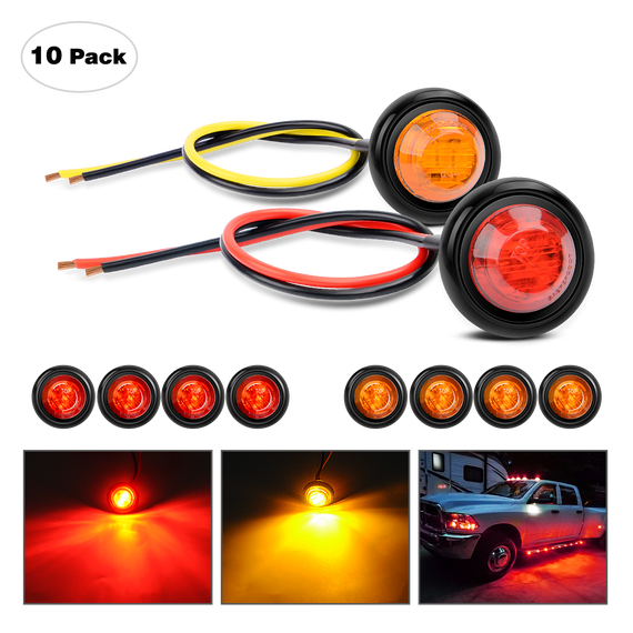 "4 x 3 LED Red 12V 3//4/"" Round Side Marker Stop Brake Light Trailer Caravan Pickup"